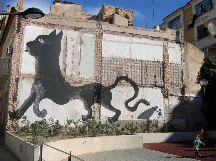 street art;  gato gigante  / from Wooster Collective